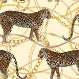 Leopard seamless pattern. Fashion print with gold chain. Animal background. Vector illustration - 261763975