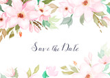 Floral card with watercolour flowers. Greenery frame.Rustic style. For wedding, birthday, party, save the date. Vector illustration. Watercolor style - 261763994