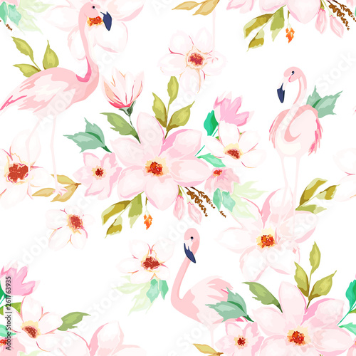 Summer seamless pattern. Floral print with flamingo. Watercolor style. Vector illustration © natikka