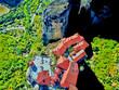 canvas print picture - Meteora Klöster in Griechenland aus der Luft