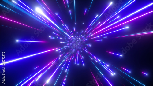 3d render, big bang, galaxy, abstract cosmic background, celestial, beauty of universe, speed of light, fireworks, neon glow, stars, cosmos, ultraviolet infrared light, outer space © wacomka
