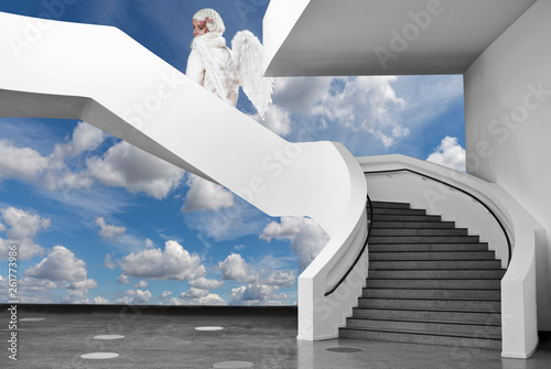 canvas print picture Himmelstreppe mit Engel