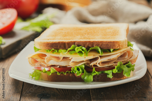 sandwich with ham and vegetables © Nitr