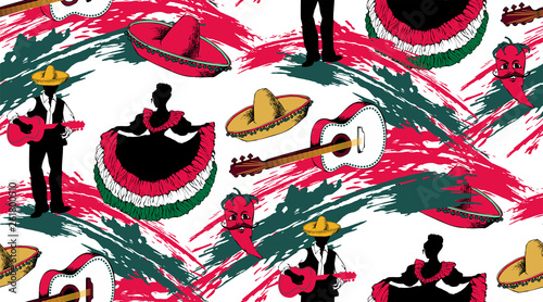 Seamless pattern for Mexican holiday 5 may Cinco De Mayo with traditional Mexican symbols.Suitable for fabric, wrapping paper and the like. Vector illustration