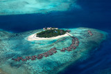 aerial view of tropical paradise maldives island resort with coral reef turquoise blue ocean tourism background - 261804197