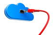 Computer Cloud with lan cable, 3D rendering