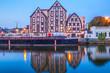 Bydgoszcz old town at amazing sunrise with reflection in Brda river. Bydgoszcz. Poland