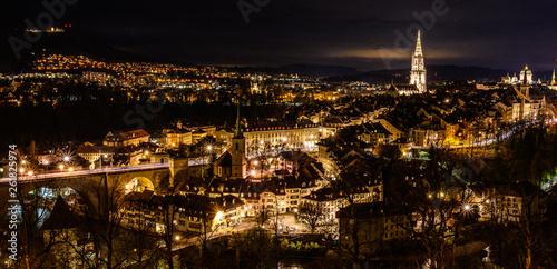 canvas print picture Bern bei Nacht
