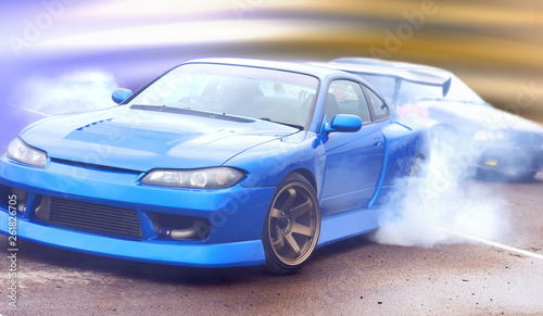 modern vision of the photo drift racing car with the imposition of a unique effect - 261826705
