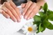 Leinwandbild Motiv Closeup view of woman with beautiful hands at table. Spa treatment