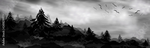 realistic 3d composition of trees, forest and snow-capped mountains. vector banner, web header Winter pine, winter tree, mountains and sky with white clouds. realistic landscape, composition, backgrou - 261829953