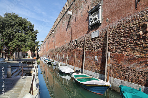 Walls of the arsenal of Venice, Italy