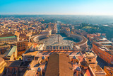 aerial view of Saint Peter's Square in Vatican city and Rome, Italy from the roof of Saint Peters cathedral