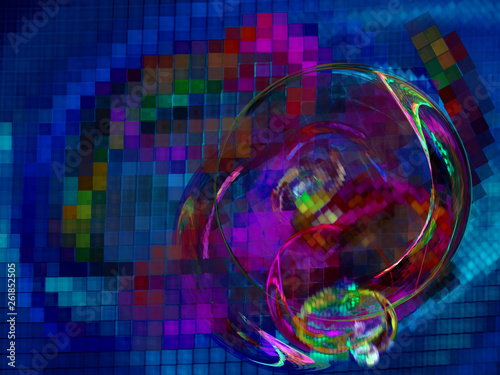 Colorful blurred pixelated dance illustration. Multicolored pixel background. - 261852505