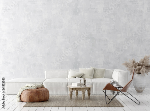 Leinwandbild Motiv Scandi-boho style home interior background, 3D render