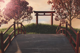 3d rendering of japanese shinto next to japanese cherry trees