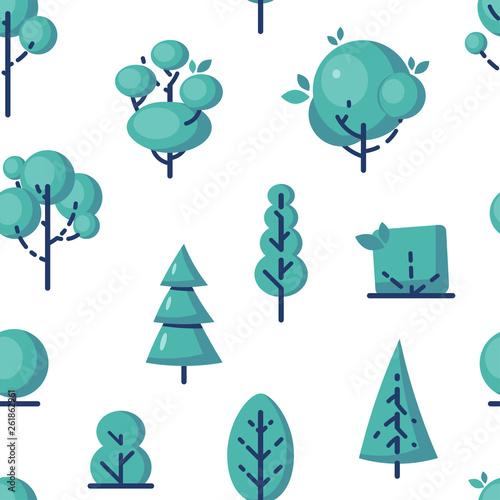 fototapeta na ścianę Simple vector tree icons in flat style