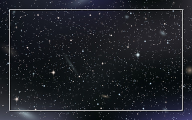 Night sky vector background with stars,  nebula and galaxies