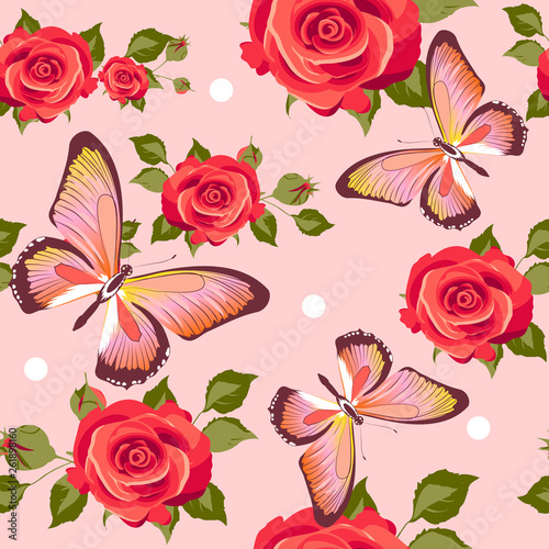 pattern beautiful roses and  butterflies set - 261898160