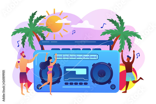 Young tiny people dancing on the beach in swimming suits and shorts at party. Beach party, sand dance floor, beach party invite concept. Bright vibrant violet vector isolated illustration
