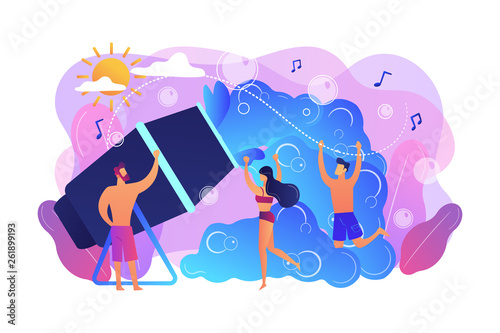 Young tiny people enjoy dancing in bubbles dispensed from foam machine in summer. Foam party, foam machine event, dancing in bubbles concept. Bright vibrant violet vector isolated illustration