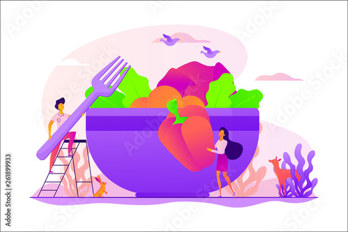 Raw veganism, raw foodism, fruitarianism, juicearianism and sproutarianism concept. Vector isolated concept illustration with tiny people and floral elements. Hero image for website. - 261899933