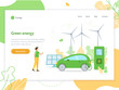 Green energy. Solar panels, wind turbines and electric car. Landing page design template. Flat vector illustration.