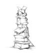 canvas print picture - Turm aus Altpapier