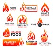 Fire flame icons of campfire, fireball and bonfire - 261912933