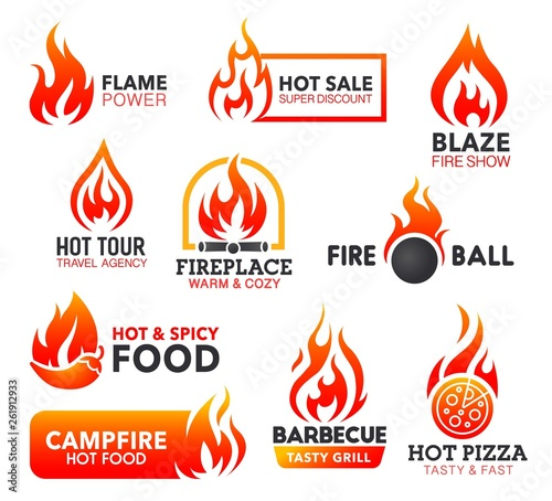 Fire flame icons of campfire, fireball and bonfire © Vector Tradition
