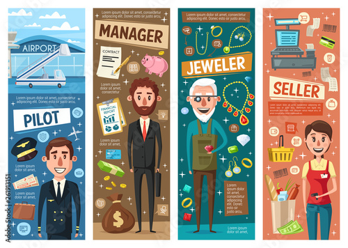 Manager, seller, pilot and jeweller professions © Vector Tradition