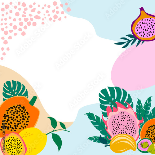 Square background with tropical fruits,shapes and leaves. Editable vector illustration - 261915334
