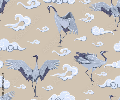 Seamless pattern with japanese cranes and clouds © Hmarka