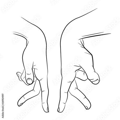 Sketch touching hands. Black and white illustration © Yevhen