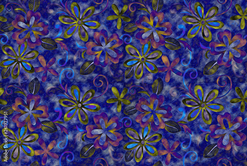 Colorful Art wall and floor decorative tiles design pattern texture background, - 261927951