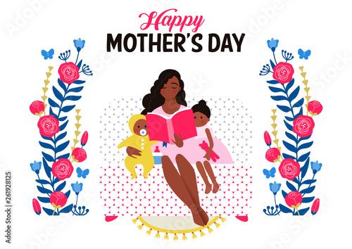 Mother's Day celebration illustration. Mother holding baby on hands. Parent hugging child. Family love. Positive, inspirational vector illustration. - 261928125