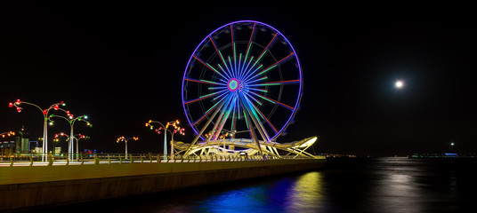 Ferris wheel at night park, Baku city