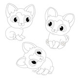 kittens cats kittens cat contour line coloring book black white cartoon set vector