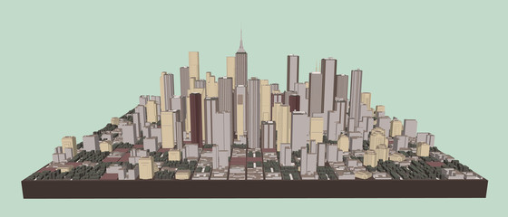 3D model of city. Vector illustration. Front view