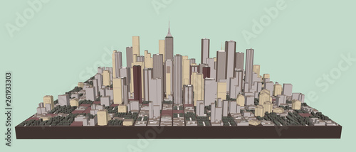 3D model of city. Vector illustration. Front view - 261933303