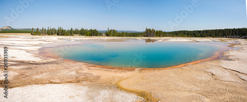 Geyser in grand prismatic spring Basin in Yellowstone National Park in Wyoming - 261935989