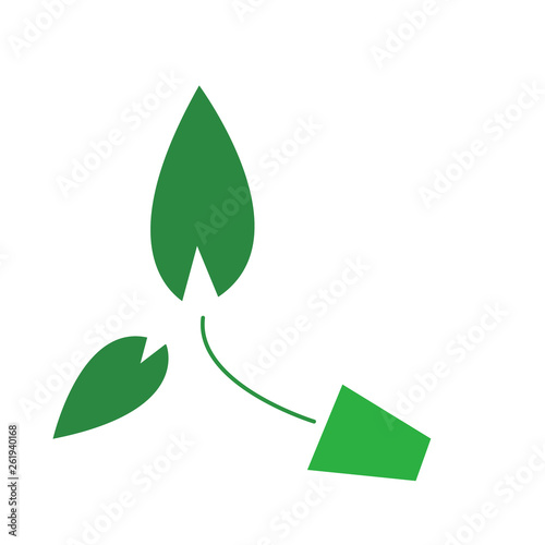 green sprout in a pot bright industrial logo © Oleg