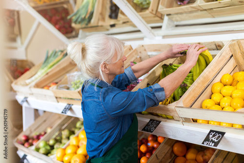 canvas print picture Senior woman working in small grocery store