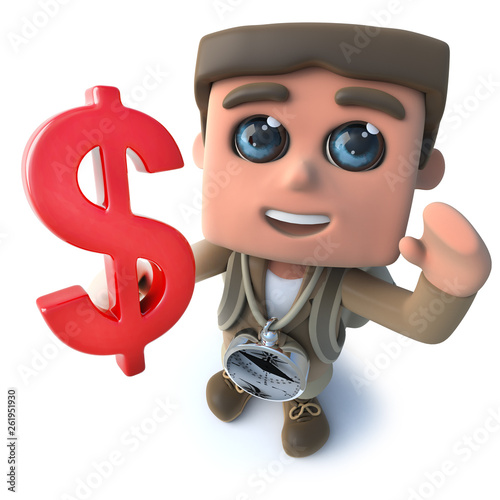 Funny cartoon 3d hiker scout character holding a US Dollar currency symbol © Steve Young