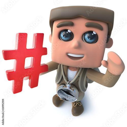 Funny cartoon 3d hiker scout character holding a hash tag hashtag symbol © Steve Young