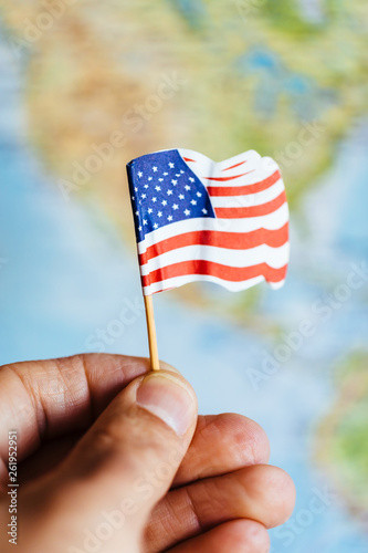 American flag with USA map background