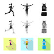 Vector illustration of sport  and winner symbol. Collection of sport  and fitness  stock symbol for web.