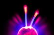 canvas print picture - elektrisches Plasma in einer Glaskugel, mit Blitzen