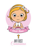 First communion card. Praying girl