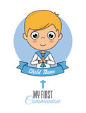 First communion card. Praying boy